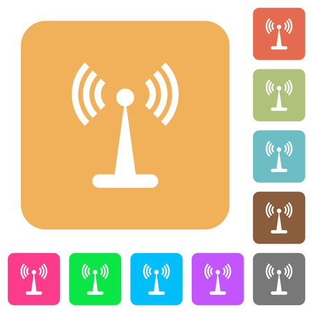 Wlan network flat icons on rounded square vivid color backgrounds.