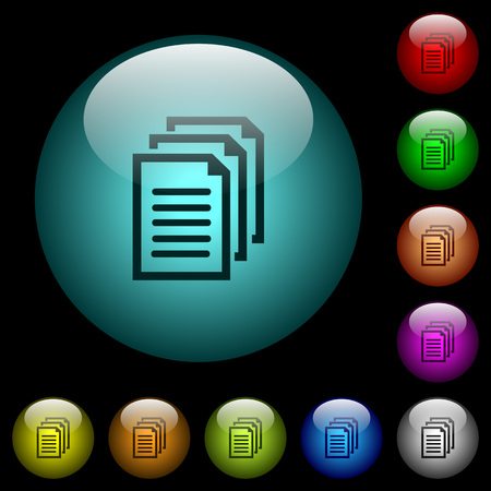 Multiple documents icons in color illuminated spherical glass buttons on black background. Can be used to black or dark templates