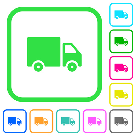 Delivery truck vivid colored flat icons in curved borders on white background