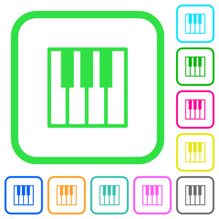 Piano keyboard vivid colored flat icons in curved borders on white background Illustration