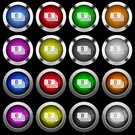 Bitcoin banknotes white icons in round glossy buttons with steel frames on black background. The buttons are in two different styles and eight colors. Illustration