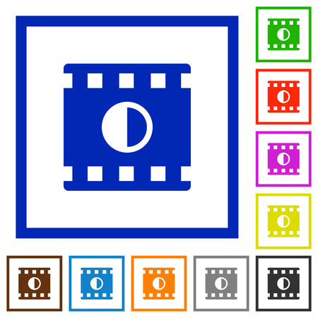 Movie contrast flat color icons in square frames on white background Illusztráció
