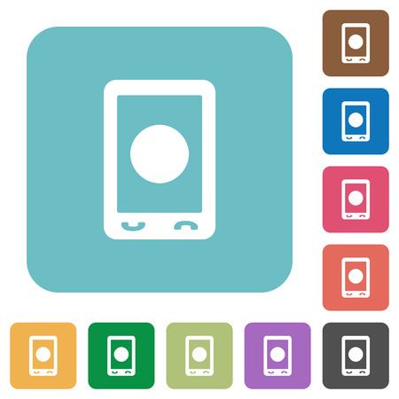 Mobile media record white flat icons on color rounded square backgrounds Çizim