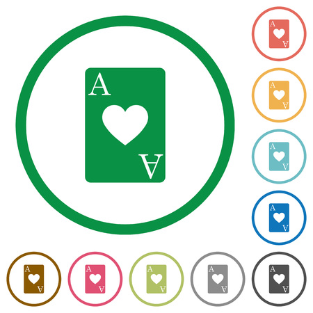 Ace of hearts card flat color icons in round outlines on white background