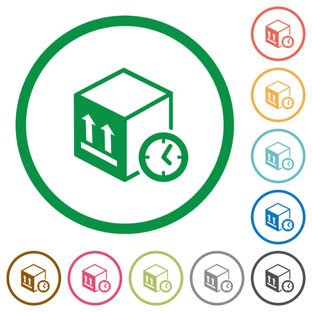 Package shipping time flat color icons in round outlines on white background
