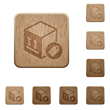 Package labeling on rounded square carved wooden button styles
