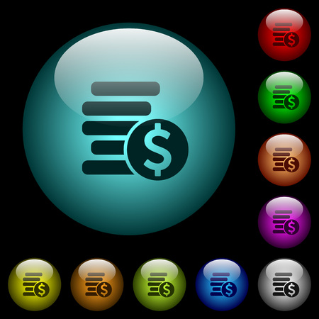 Dollar coins icons in color illuminated spherical glass buttons on black background. Can be used to black or dark templates 일러스트