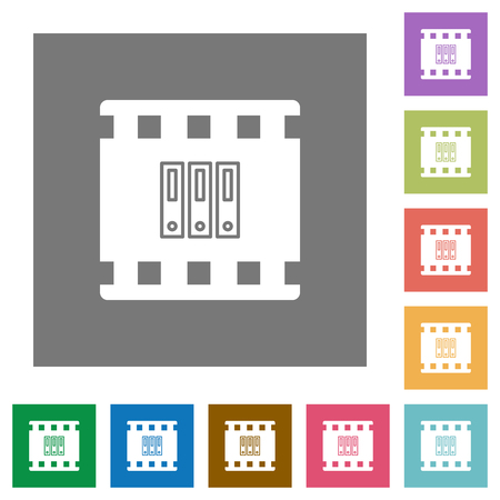 Archive movie flat icons on simple color square backgrounds