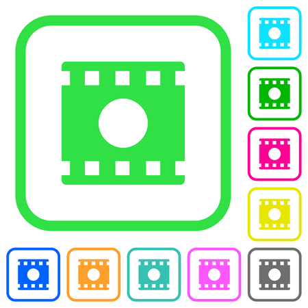 Movie record vivid colored flat icons in curved borders on white background