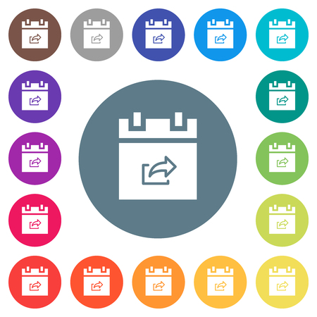 Export schedule item flat white icons on round color backgrounds. 17 background color variations are included. Vektoros illusztráció