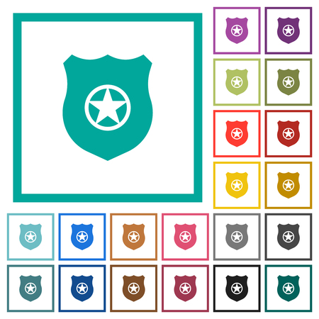 Police badge flat color icons with quadrant frames on white background Illustration