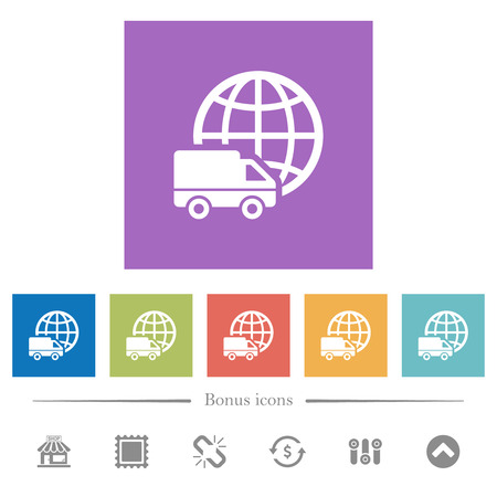 International transport flat white icons in square backgrounds. 6 bonus icons included.