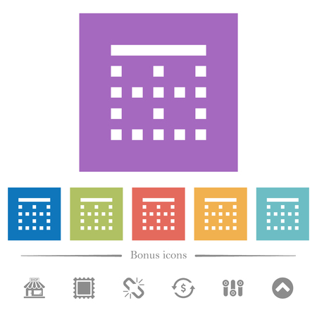 Top border flat white icons in square backgrounds. 6 bonus icons included.