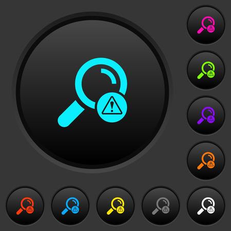 Search error dark push buttons with vivid color icons on dark grey background