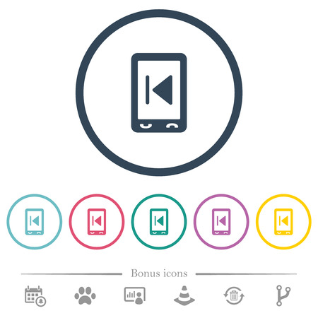 Mobile media previous flat color icons in round outlines. 6 bonus icons included.