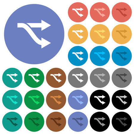 Fork multi colored flat icons on round backgrounds. Included white, light and dark icon variations for hover and active status effects, and bonus shades.