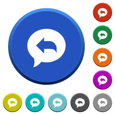 Reply message round color beveled buttons with smooth surfaces and flat white icons