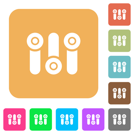 Control panel flat icons on rounded square vivid color backgrounds.