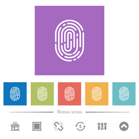 Fingerprint flat white icons in square backgrounds. 6 bonus icons included.