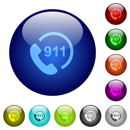 Emergency call 911 icons on round color glass buttons Illustration