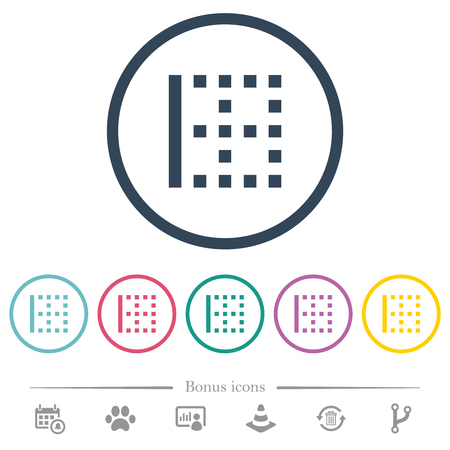 Left border flat color icons in round outlines. 6 bonus icons included.