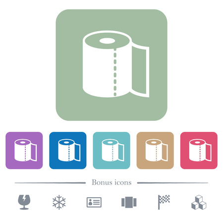 Paper towel white flat icons on color rounded square backgrounds. 6 bonus icons included