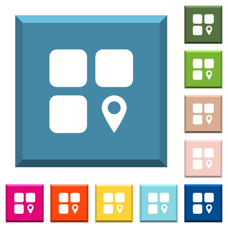Component location white icons on edged square buttons in various trendy colors