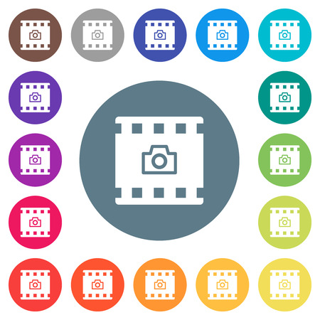 Grab image from movie flat white icons on round color backgrounds. 17 background color variations are included. Çizim