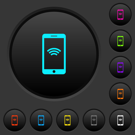 Cellphone with wireless network symbol dark push buttons with vivid color icons on dark grey background Illustration