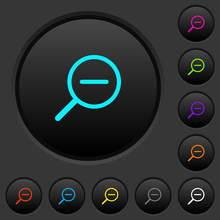 Zoom out dark push buttons with vivid color icons on dark grey background