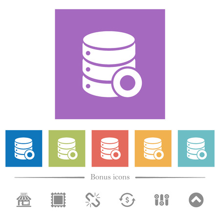 Database macro record flat white icons in square backgrounds. 6 bonus icons included.