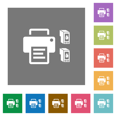 Printer and ink cartridges flat icons on simple color square backgrounds 向量圖像