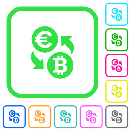 Euro Bitcoin money exchange vivid colored flat icons in curved borders on white background Illustration
