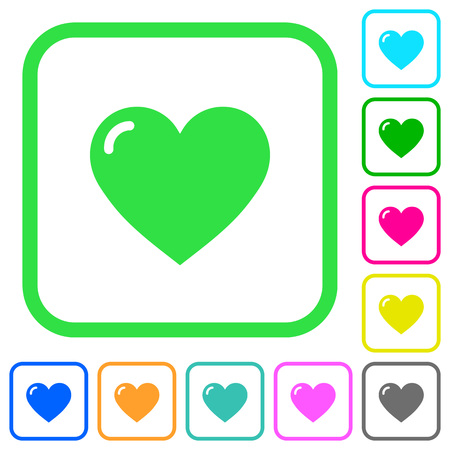 Heart shape vivid colored flat icons in curved borders on white background