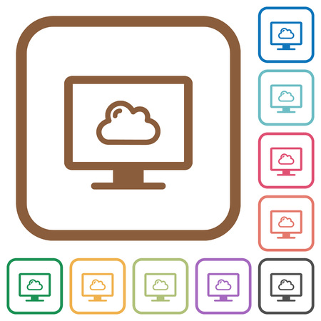 Cloud computing simple icons in color rounded square frames on white background