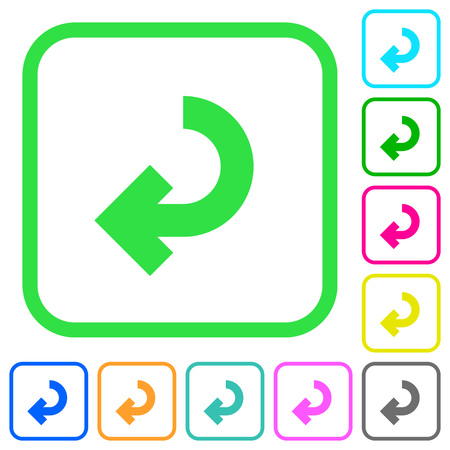 Return arrow vivid colored flat icons in curved borders on white background