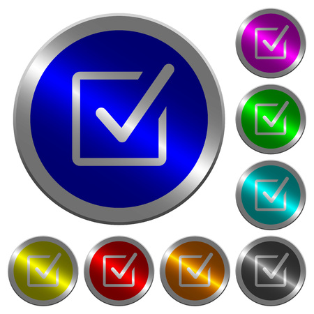 Checked box icons on round luminous coin-like color steel buttons