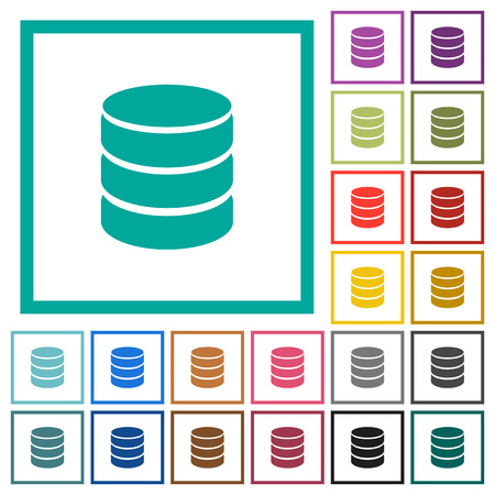 Single database flat color icons with quadrant frames on white background  イラスト・ベクター素材