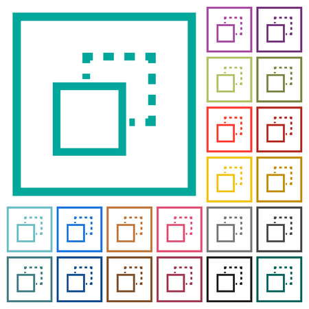 Send element to back flat color icons with quadrant frames on white background