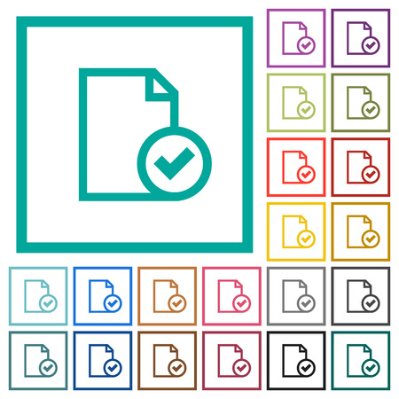 Document accepted flat color icons with quadrant frames on white background