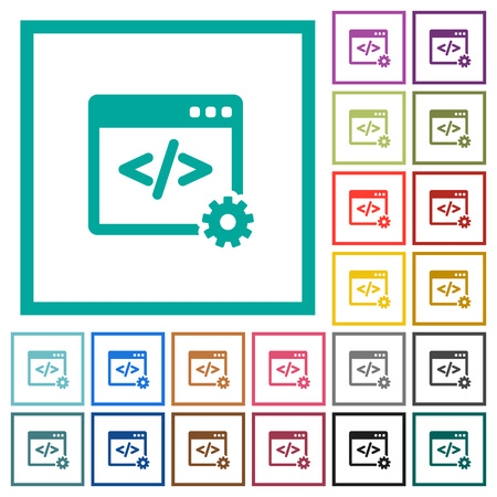 Web development flat color icons with quadrant frames on white background