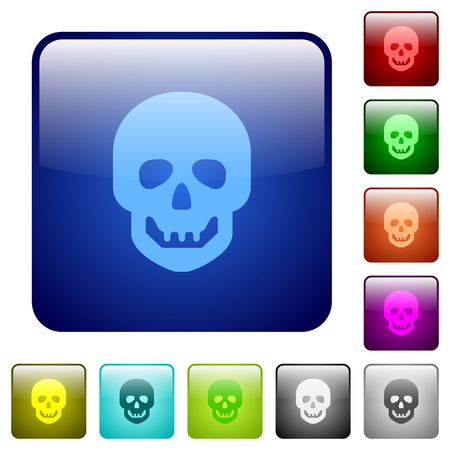 Human skull icons in rounded square color glossy button set Ilustração