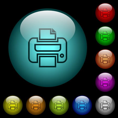 Print icons in color illuminated spherical glass buttons on black background. Can be used to black or dark templates