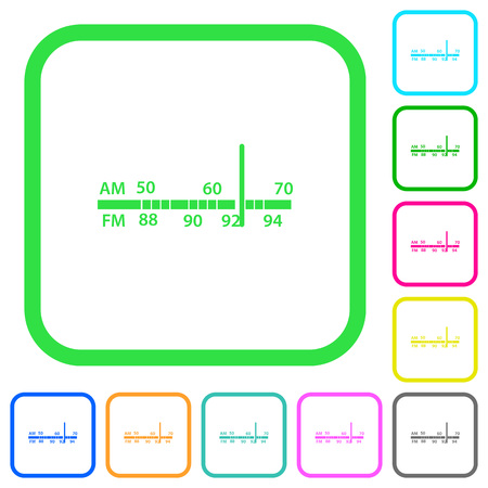Radio tuner vivid colored flat icons in curved borders on white background