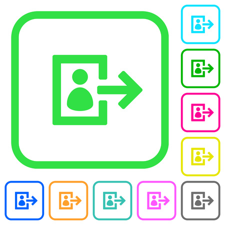 User logout vivid colored flat icons in curved borders on white background