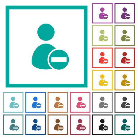 Remove user account flat color icons with quadrant frames on white background Ilustração