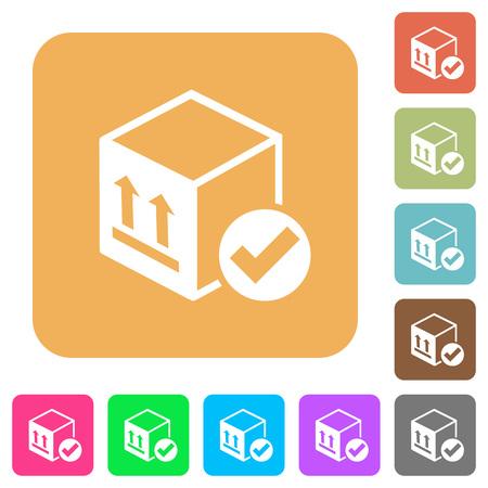 Package delivered flat icons on rounded square vivid color backgrounds. Vektoros illusztráció