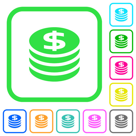 Dollar coins vivid colored flat icons in curved borders on white background