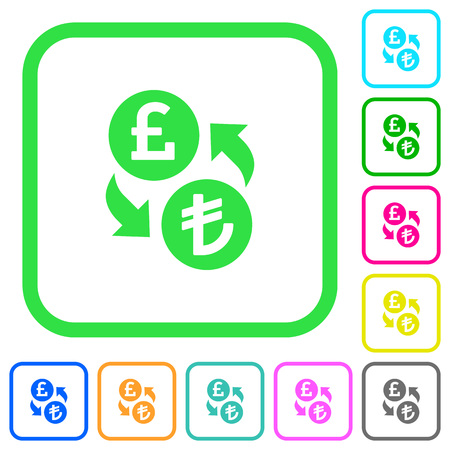 Pound Lira money exchange vivid colored flat icons in curved borders on white background Illustration