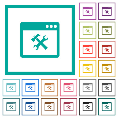 Application tools flat color icons with quadrant frames on white background